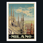 "Milano Milan Italy Vintage Travel Postcard<br><div class=""desc"">Milano Milan Italy Vintage travel poster art from the Golden Age of Travel adventure, artistic inspiration of scenic destinations around the world. Gifts</div>"