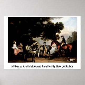 Milbanke y familias de Melbourne de George Stubbs Poster