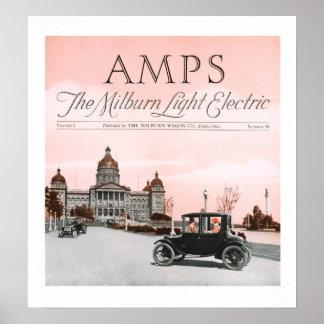 Milburn Light Electric Car Poster