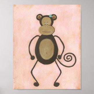 Mildred Monkey Nursery Art Poster