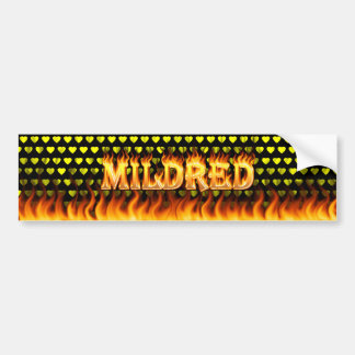Mildred real fire and flames bumper sticker design