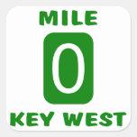 Mile 0 Key West Square Sticker