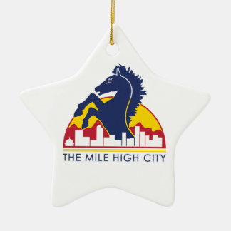 Mile High City Blue Horse Ceramic Ornament