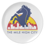 Mile High City Blue Horse Dinner Plates