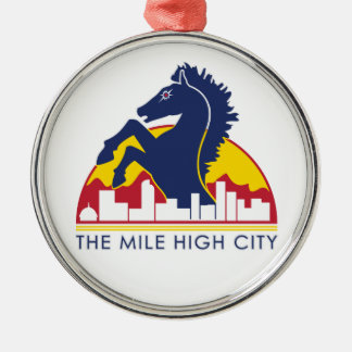Mile High City Blue Horse Metal Ornament
