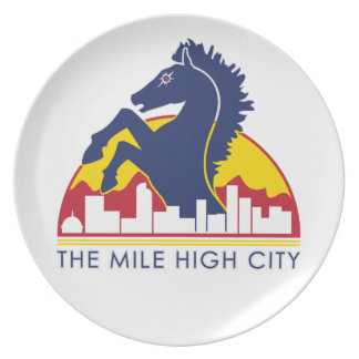 Mile High City Blue Horse Dinner Plates