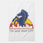 Mile High City Blue Horse Towels