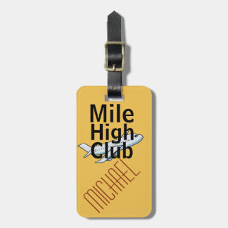 Mile High Club funny customizable luggage tag