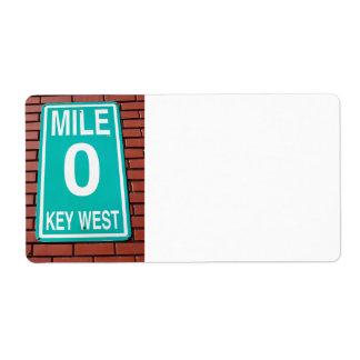 mile marker sign label