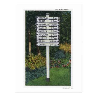 Mile Marker Sign Post Postcard
