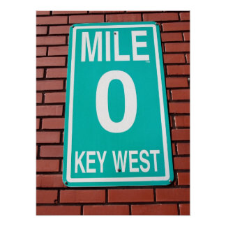 mile marker sign poster