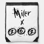 Miler x 26.2 - Funny Marathon Runner Drawstring Backpack