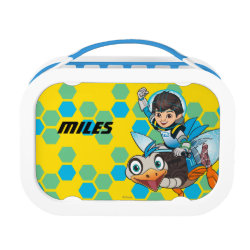 Blue yubo Lunch Box with Miles Callisto & Merc the Robo-Ostrich design