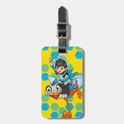 Small Luggage Tag with leather strap with Miles Callisto & Merc the Robo-Ostrich design