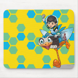 Mousepad with Miles Callisto & Merc the Robo-Ostrich design