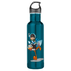 Water Bottle (24 oz) with Miles Callisto & Merc the Robo-Ostrich design