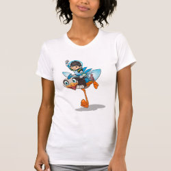 Women's American Apparel Fine Jersey Short Sleeve T-Shirt with Miles Callisto & Merc the Robo-Ostrich design