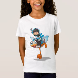 Girls' Fine Jersey T-Shirt with Miles Callisto & Merc the Robo-Ostrich design