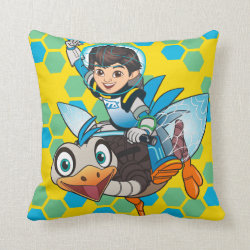 Cotton Throw Pillow with Miles Callisto & Merc the Robo-Ostrich design