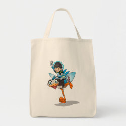 Grocery Tote with Miles Callisto & Merc the Robo-Ostrich design