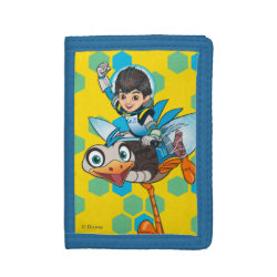 TriFold Nylon Wallet with Miles Callisto & Merc the Robo-Ostrich design