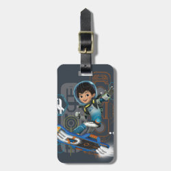 Small Luggage Tag with leather strap with Miles Callisto on his Blastboard design