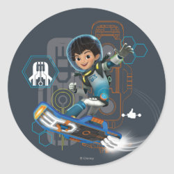 Round Sticker with Miles Callisto on his Blastboard design
