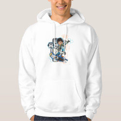 Men's Basic Hooded Sweatshirt with Miles Callisto on his Blastboard design