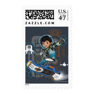 Miles Callisto On His Blastboard Graphic Postage Stamp