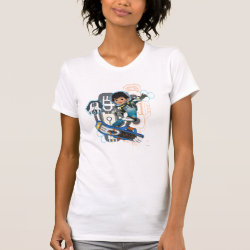 Women's American Apparel Fine Jersey Short Sleeve T-Shirt with Miles Callisto on his Blastboard design