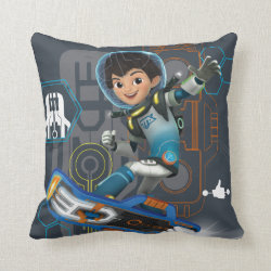 Cotton Throw Pillow with Miles Callisto on his Blastboard design