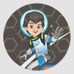 Round Sticker with Miles Callisto riding his Blastboard design