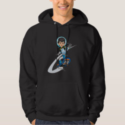 Men's Basic Hooded Sweatshirt with Miles Callisto riding his Blastboard design