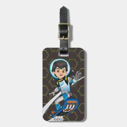 Small Luggage Tag with leather strap with Miles Callisto riding his Blastboard design