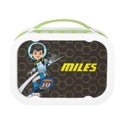 Green yubo Lunch Box with Miles Callisto riding his Blastboard design