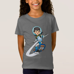 Girls' Fine Jersey T-Shirt with Miles Callisto riding his Blastboard design