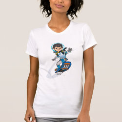 Women's American Apparel Fine Jersey Short Sleeve T-Shirt with Miles Callisto riding his Blastboard design