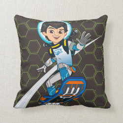 Cotton Throw Pillow with Miles Callisto riding his Blastboard design