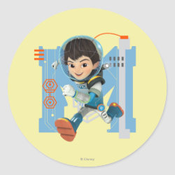 Round Sticker with Miles Callisto from Tomorrowland design