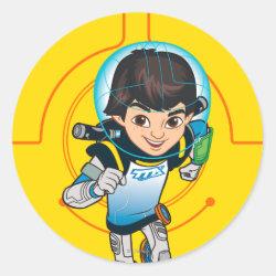 Round Sticker with Cartoon Miles Callisto Running design
