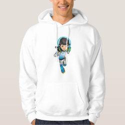 Men's Basic Hooded Sweatshirt with Cartoon Miles Callisto Running design
