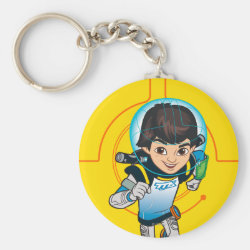 Basic Button Keychain with Cartoon Miles Callisto Running design