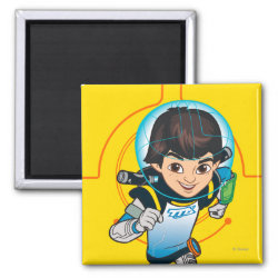 Square Magnet with Cartoon Miles Callisto Running design