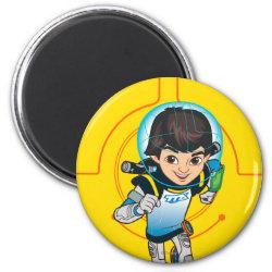 Round Magnet with Cartoon Miles Callisto Running design