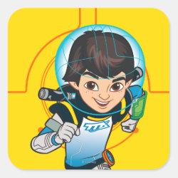 Square Sticker with Cartoon Miles Callisto Running design