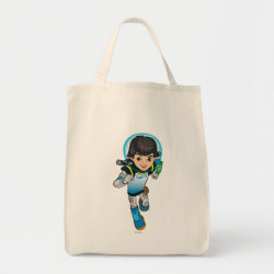 Grocery Tote with Cartoon Miles Callisto Running design