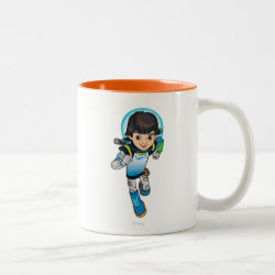 Two-Tone Mug with Cartoon Miles Callisto Running design