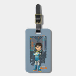 Small Luggage Tag with leather strap with Miles Callisto Space Explorer design