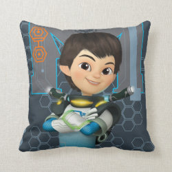 Cotton Throw Pillow with Miles Callisto Space Explorer design
