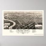 Miles City, MT Panoramic Map - 1883 Poster